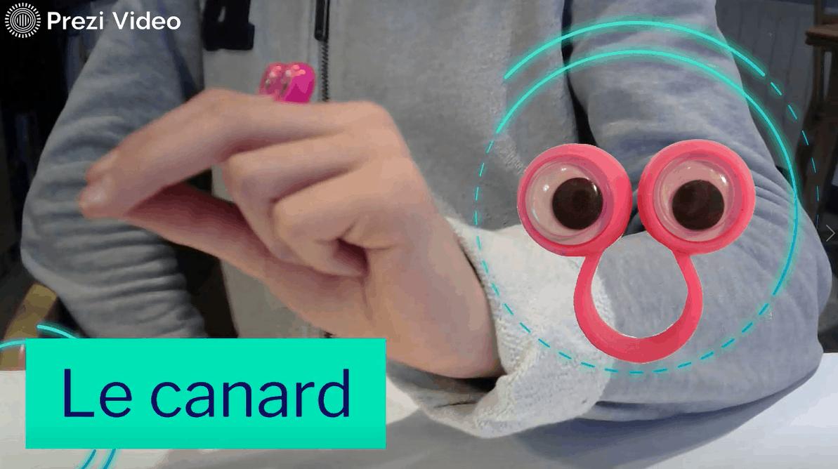 Le canard ou finger eyes - exercice de motricité fine permettant de travailler le mouvement de flexion/Extension du pouce.