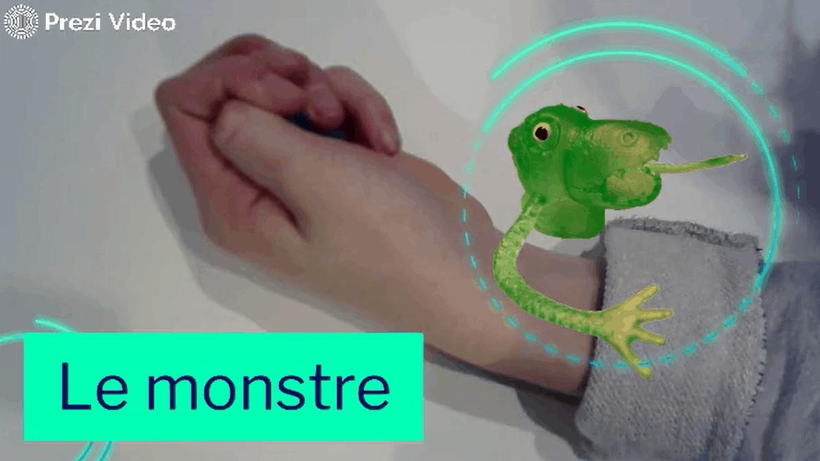 Le monstre - exercice de motricité fine permettant de travailler le mouvement de flexion du pouce.